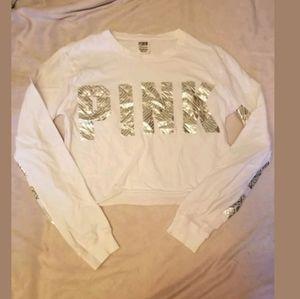 PINK Victoria's Secret White Metallic Crop Top XS
